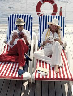 Cruise fashion in blue, white and red, pictures by world-renowned fashion photographer Pamela Hanson .