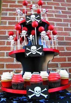 Pirate Party cake pop and cupcake stand Pirate Halloween, Pirate Day, Pirate Birthday, Pirate Theme, Halloween Party, Halloween 2018, 4th Birthday Parties, 2nd Birthday, Cakepops