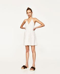 ZARA - WOMAN - EMBROIDERED MINI HALTER DRESS