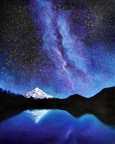Hood and the Milky Way original acrylic painting Mt. Hood and the Milky Way original acrylic painting Painting Inspiration, Art Inspo, Night Sky Painting, Acrylic Art, Galaxy Painting Acrylic, Painting & Drawing, Diy Painting, Amazing Art, Watercolor Paintings