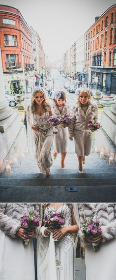 Love the flowers. :) Decadent New Years Eve Wedding In Dublin With Bride In Eden By Jenny Packham And Vamp Sandals By Jimmy Choo And Groom In Navy Reiss Suit Wit...