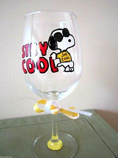 Hand Painted Wine Glass Snoopy JOE COOL Stay Cool 12 oz ** Want additional info? Click on the image. #fashion