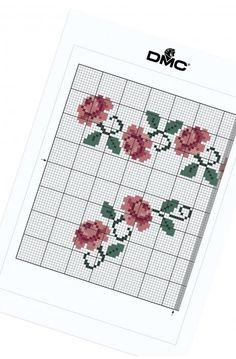 Bordure de roses - Fleurs & jardin - MOTIF GRATUIT POINT DE CROIX DMC