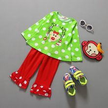 Christmas Deer Pattern Baby Girls Clothes Sets Reindeer t shirt Ruffle Pants Fall Chic Long Sleeve Outfit Children Girl Clothing(China (Mainland))