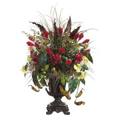 Silk Protea, Ginger Flower, and Anthurium Flower Arrangement Home Flower Arrangements, Silk Floral Arrangements, Artificial Flower Arrangements, Floral Centerpieces, Flower Vases, Artificial Flowers, Diy Flower, Yucca Tree, Ginger Flower