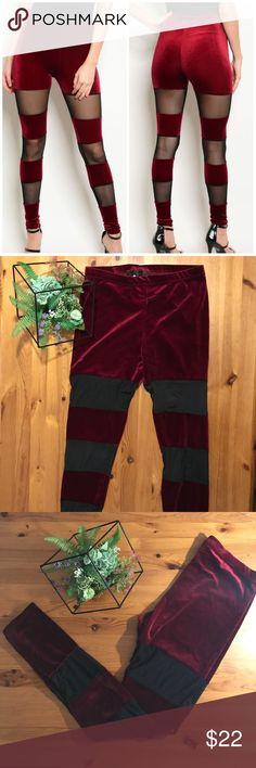Sexy Red Velvet and Sheer Leggings Get yourself fall Ready with these super sexy red velvet leggings with sheer striped panels! These are super HOT!  Get them before they are gone!! Boutique                90% polyester 10% spandex Threadzwear Pants Leggings