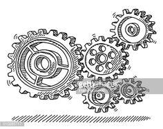 Vector Art : Rotating Gears Machine Drawing