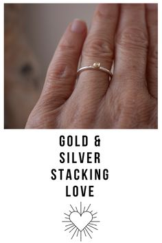 This gold and silver stacking ring looks dainty on its own and is also designed to perfectly stack with your other silver and gold rings. Minimalist in design, this ring was created as a quiet, everyday reminder to be mindful of your actions and the ripples you put out into the world. Gold Jewellery Design, Gold Jewelry, Silver Stacking Rings, Silver Rings, Dainty Ring, Etsy Jewelry, Mindful, Gifts For Her, Minimalist
