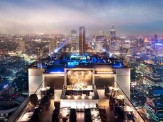 Thailand is home to some of the world's most amazing sky bars, but none carry the awe factor quite like this gravity-defying restaurant and bar combo, jetting 61 stories towards the heavens atop the Banyan Tree Bangkok. With 360-degree views extending to the horizon in all directions, it's like hovering over Bangkok's dazzling cityscape, a sensation heightened by multiple rounds of Thai Sabai, a potent mix of Mekhong (a national sugar cane and rice-based spirit), lime juice, basil leaves…