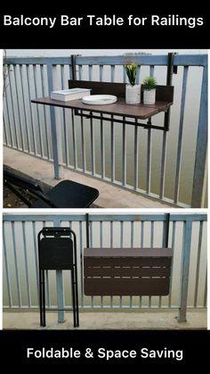 Space Saving Furniture, Diy Furniture, Metal Furniture, Outdoor Furniture, Outdoor Decor, Balcony Bar, Balcony Railing, Latest Wooden Sofa Designs, Balcony Flower Box