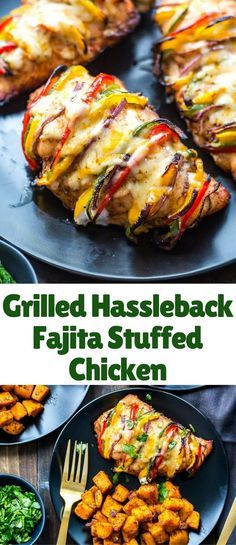 This Grilled Hassleback Fajita Stuffed Chicken is stuffed with bell peppers and red onions then topped with tex mex cheese – it's a delicious and healthy weeknight dinner that comes together in a pinch!