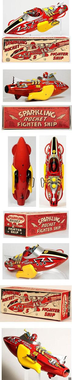 1951 Marx Sparkling Rocket Fighter Ship in Original Box