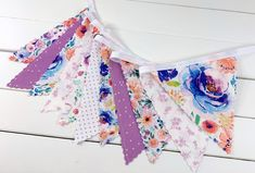 Bunting Banner Garland, Nursery Bunting, Fabric Bunting Flags, Fabric Banner, Nursery Garland - Purple and Lavender Watercolor Flowers
