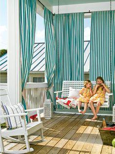 Summer Striped Porch - 65 Beachy Porches and Patios - Coastal Living Porch Curtains, Outdoor Curtains, Outdoor Rooms, Outdoor Living, Outdoor Decor, Hang Curtains, Outdoor Fabric, Outdoor Areas, Shower Curtains
