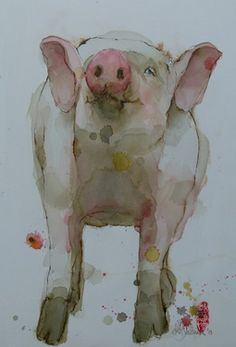 """Artist Marie-helene Stokkink  Painting, """"Knorrie"""" #art I think of my grandmother when i see this she loved pigs. I miss her."""
