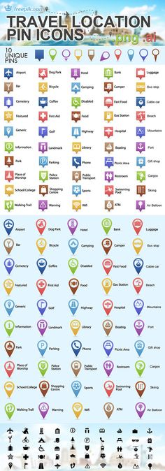 Travel Location Pin Icons - Free Source Files