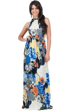 KOH KOH Womens Long Summer Flowy Sexy Halter Neck Sleeveless Casual Floral Print Printed Beach Hawaiian Spring Boho Gown Gowns Maxi Dress Dresses Blue Black and White M 810 1 ** You can get additional details at the image link. (This is an affiliate link)