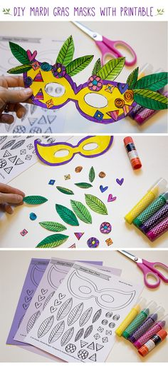 DIY Mardi Gras Masks Kids Activity and Craft with Printable Download
