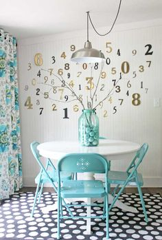 shabby-creek-cottage-breakfast-nook Love the numbers wall and turquoise!