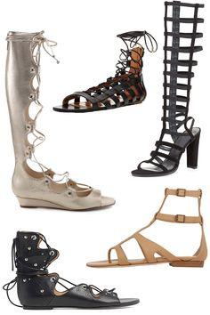 Schutz Fyonna sandal, $217; schutz-shoes.com Aquazzura Leather Amazon Flats, $375; modaoperandi.com Stuart Weitzman CagedUp Suede Gladiator Sandal, $401; bergdorfgoodman.com IRO Xiri Sandals, $315; iroparis.com Manolo Blahnik Eliza Gladiator Sandals, $309; barneys.com   - ELLE.com