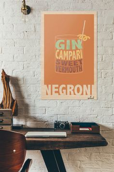 A personal favorite from my Etsy shop https://www.etsy.com/listing/482426627/negroni-cocktail-gin-campari-classic