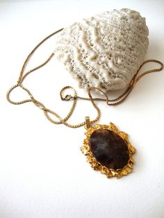 Vintage Agate Cameo Golden Nuggets oval stone by SurLhistoire, $25.00