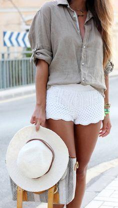 Lace shorts  gray shirt.