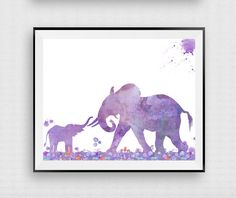 Elephant Poster Elephant Art Print Nursery by InstantDownloadArt1