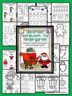 December Kindergarten Common Core Homework