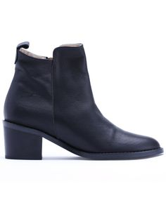 Black Mid Heel Zipper Leather Shoes -SheIn(Sheinside)