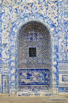 Beautifully tiled confessional, Convento dos Lóios, Arraiolos, Alentejo, Portugal. Handpainted blue and white tiles from the 18th century. Portuguese azulejos.