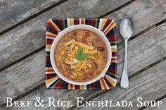 Beef and Rice Enchilada Soup. Warm Bean Dip, Lemon Basil Chicken, Creamy White Chicken Chili, Italian Spices, Enchilada Soup, Beef And Rice, Chips And Salsa, Twice Baked Potatoes, Tasty Kitchen