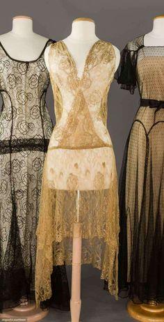 c. 1928 gold lace flapper dress