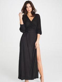 New In Kate Black Floor Length Robe - Loungewear - Robe Luxury Lingerie and Designer Lingerie Online Boutique Lingerie, Sleepwear & Loungewear - http://amzn.to/2ij6tqw
