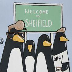 Arctic Penguins by Pete McKee Arctic Monkeys, Arctic Penguins, Alex Turner, Satan, Sheffield Art, Sheffield Steel, Sheffield United, Pete Mckee, Cool Fire
