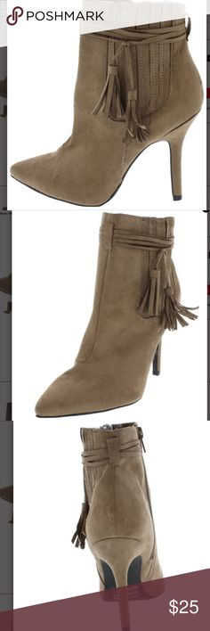 Taupe Ankle Boot Heel BRAND NEW🎉🎉 Brand New Taupe Ankle Boot Heel with Tassels Shoes Ankle Boots & Booties
