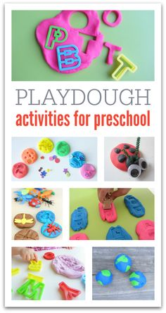 Fun and easy playdough ideas for preschool: literacy and fine motor skill practice! Preschool Learning, Early Learning, Preschool Crafts, Learning Activities, Kids Learning, Crafts For Kids, Teaching, Preschool Centers, Creative Activities