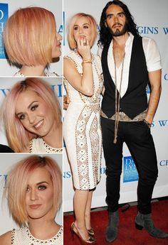 katy perry bob im surprised i like her blond. luminescent make up plus russel brand looks good