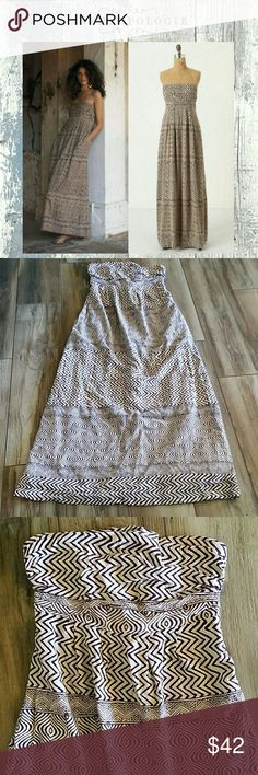 Edme & Estyllte Hypnotic Maxi Dress Size 8 Strapless (removable straps not included) Beige/brown color tribal print Hidden pockets on each side Euc worn very gently Anthropologie Dresses Maxi