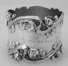 Art Nouveau Pond Lily Napkin Ring Sterling Silver 1900