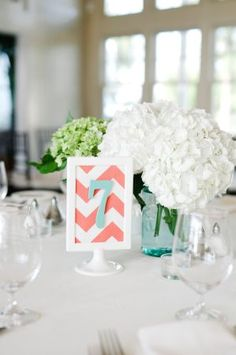 Aqua and coral table numbers - weddings