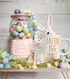 Easy Easter Crafts, Easter Decor, Easter Ideas, Hoppy Easter, Easter Eggs, Diy Gumball Machine, Bubble Gum Machine, Spring Tree, Dollar Store Crafts