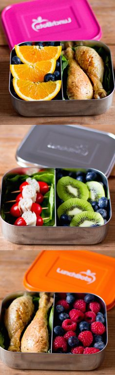LunchBots are stainless steel lunch and snack containers that are better for the environment. Both the container and the lid are made from the highest quality, stainless steel. LunchBots are safe, eco-friendly, and durable. The LunchBots Uno is Healthy Packed Lunches, Healthy Snacks, Healthy Eating, Healthy Recipes, Bento Box Lunch, Lunch Snacks, Box Lunches, School Lunches, Kids Meals
