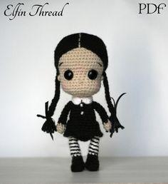 Elfin Thread- Wednesday Addams Chibi Doll Amigurumi PDF Pattern (Halloween Crochet Doll Pattern) door ElfinThread op Etsy https://www.etsy.com/nl/listing/480765083/elfin-thread-wednesday-addams-chibi-doll