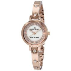Anne Klein 10-9752MPRG Women's Mother of Pearl Dial Swarovski Crystal Accented Bangle Rose Gold Tone Watch