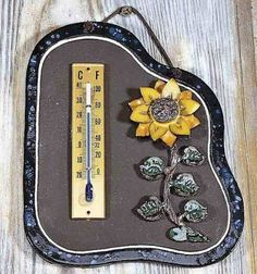 Haustürschild Thermometer Sonnenblume
