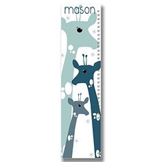 Handmade Nursery Custom Canvas Blue Giraffe growth Chart * Want additional info? Click on the image.