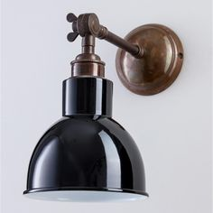 Old School Electric - Antique Brass Finish Long Arm Churchill Wall Light - Mains Switch - Grey - Black/Grey/White Glass Wall Lights, Bathroom Wall Lights, Outdoor Wall Lighting, Cool Lighting, Contemporary Wall Lights, Industrial Wall Lights, Unique Lamps, Lamp Design, Plates On Wall