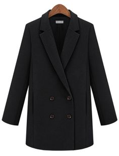 Black Notch Lapel Long Sleeve Double Breasted Coat EUR€31.98