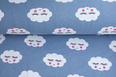 Kinderstoffe - Jersey Stoff Wolken smile hellblau - ein Designerstück von Fiebmatz bei DaWanda